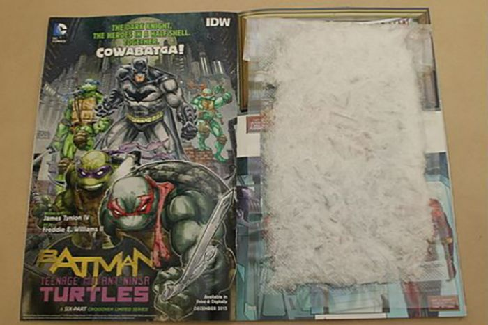 methamphetamine from US to Queensland in comic books