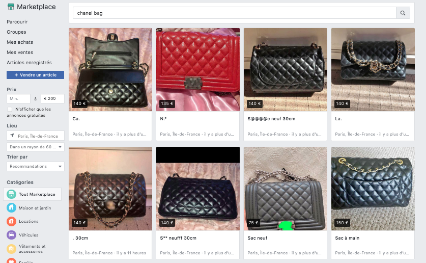 marketplace-facebook-contrefacon-sac-chanel-illicit-trade