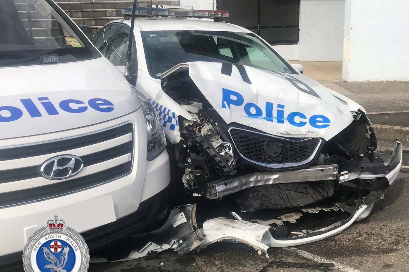rams into police vehicle while carrying methamphetamine